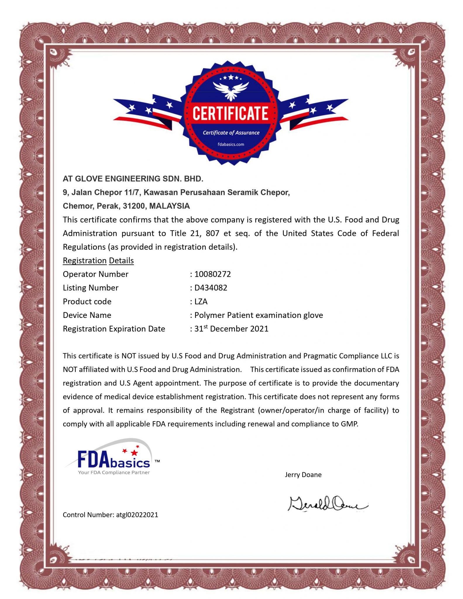 AT GLOVE ENGINEERING SDN BHD - FDA