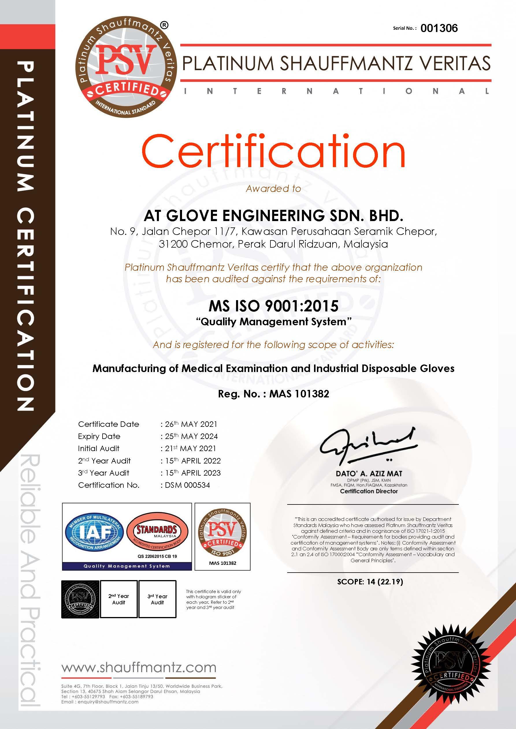AT GLOVE ENGINEERING SDN BHD - ISO 9001